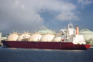 LNG tanker loading at a terminal