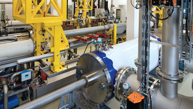 high-precision piston provers at hydrocarbon flow calibration rig at Endress+Hauser Flow in Reinach